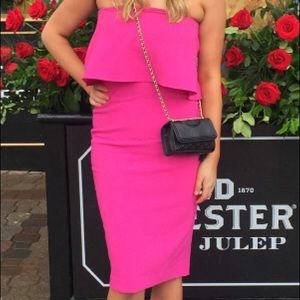 Pink fitted cocktail dress